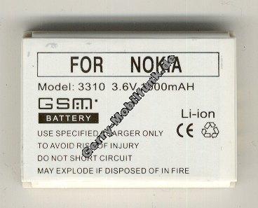 Akku Nokia 3410, 3510, 3510i, 3310, 3330, 5510, 6650, 6800 Li-Ion 1000mAh 7,6mm 3,3Wh Akku vom Markenhersteller mit 12 Monaten Garantie, nicht original Nokia