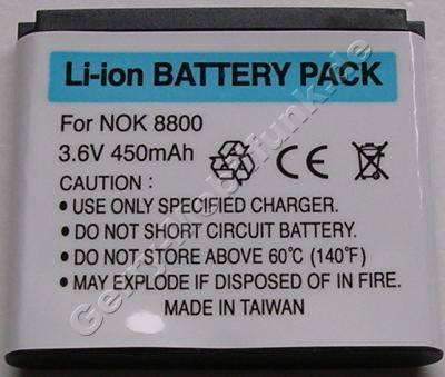Akku Nokia 8800,8800 Sirocco Edition, 8801, LiIon 700mAh 3,6V 5,6mm ca.12g Akku vom Markenhersteller mit 12 Monaten Garantie, nicht original Nokia (entspricht BL-5X, BL-6X)