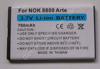 Akku Nokia 6212 classic Li-Ion 780mAh 4,8mm Akku vom Markenhersteller mit 12 Monaten Garantie, nicht original Nokia (entspricht BL-4U)