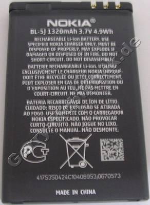 Akku BL-5J original Nokia X1-01 LiIon 1320mAh 3,7V 4,9Wh original Ersatzakku