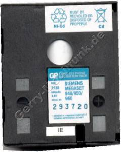 Akku für Siemens Megaset 940/950/960 NiCd 600mAh 3,6V