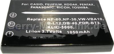 Akku Pentax D-L12 LS420 LS443 (Optio 330, 430) Daten: 1050mAh 3,7V LiIon 7mm (Zubehörakku vom Markenhersteller)