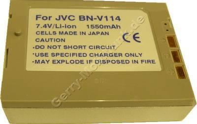 Akku JVC BN-V114 (GR DVP1, DVP3, DVP7) Daten: 1700mAh 7,4V LiIon 15mm silber (Zubehörakku vom Markenhersteller)