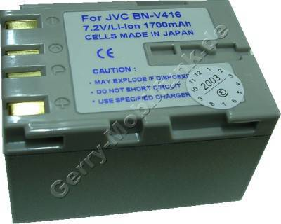 Akku JVC DVL365 Daten: 1700mAh 7,2V LiIon 39,4mm silber-champagner (Zubehörakku vom Markenhersteller)