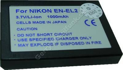 Akku Nikon DDEN-EL2, EN-EL2 (CoolPix 2500) Daten: 1000mAh 3,7V LiIon 8,2mm (Zubehörakku vom Markenhersteller)