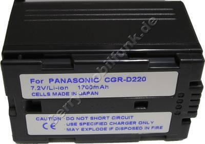 Akku PANASONIC NV-EX1 Daten: 2200mAh 7,2V LiIon 37mm dunkelgrau (Zubehörakku vom Markenhersteller)