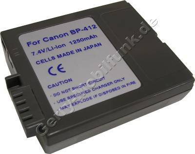 Akku CANON BP-412 MV-3 MV-3i MV-3MC MV-3iMC Daten: Li-ion 7,4V 1500 mAh, grau (Zubehörakku vom Markenhersteller)