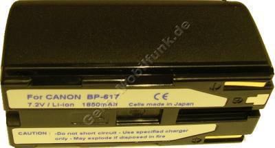 Akku CANON DV-MV20 Daten: Li-ion 7,2V  1850 mAh, schwarz 37mm (Zubehörakku vom Markenhersteller)