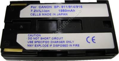 Akku CANON V400 BP-915 Daten: Li-Ion 7,2V  1850 mAh, schwarz 20,5mm (Zubehörakku vom Markenhersteller)