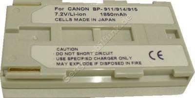 Akku CANON UCV-100 BP-915 Daten: Li-Ion 7,2V  1850 mAh, silber 20,5mm (Zubehörakku vom Markenhersteller)