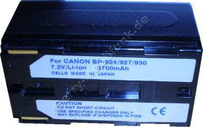 Akku CANON G10 BP-930 Daten: Li-Ion 7,2V 3700 mAh, schwarz 40mm (Zubehörakku vom Markenhersteller)