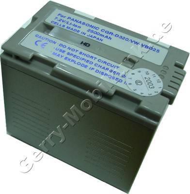 Akku PANASONIC NV-GS5 Daten: LiIon 7,2V 3300mAh 53,3mm silber-champagner (Zubehörakku vom Markenhersteller)