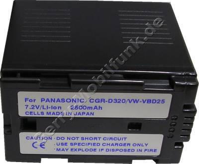 Akku PANASONIC VW-VBD25 Daten: LiIon 7,2V 3000mAh 53,3mm dunkelgrau (Zubehörakku vom Markenhersteller)