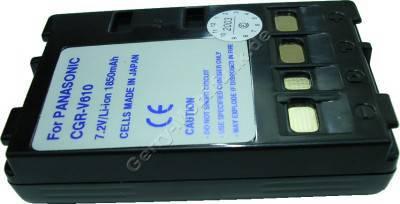Akku PANASONIC CGR-V610 Daten: LiIon 7,2V 2000mAh 21,7mm schwarz (Zubehörakku vom Markenhersteller) (NV-RX Serie, NV-VX Serie, VHS-C Serie)