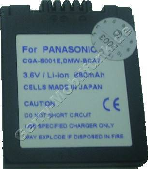 Akku Panasonic LUMIX DMC-F1 Daten: LiIon 3,6V 680mAh 6,5mm dunkelgrau (Zubehörakku vom Markenhersteller)