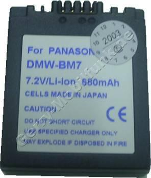 Akku PANASONIC DMW-BM7 CGA-S002E CGA-S001HH LUMIX-DMC-FZ1 Daten: LiIon 7,2V 680mAh 12,7mm dunkelgrau (Zubehörakku vom Markenhersteller)