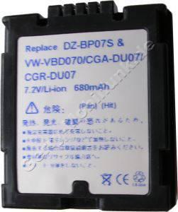 Akku PANASONIC CGA-DU07E CGA-DU01B NV-GS10 NV-GS30 NV-GS50 NV-GS70 Daten: LiIon 7,4V 680mAh 17mm dunkelgrau (Zubehörakku vom Markenhersteller)