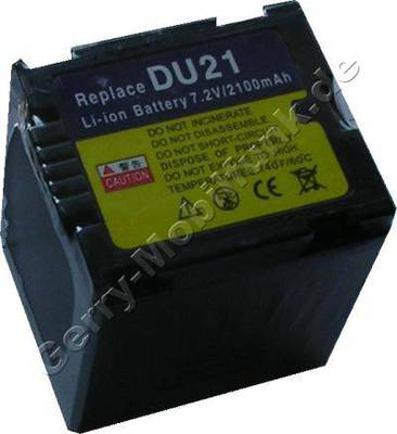 Akku PANASONIC CGA-DU21E CGA-DU1B NV-GS10 NV-GS30 NV-GS50 NV-GS70 Daten: LiIon 7,4V 2040mAh 41,6mm dunkelgrau (Zubehörakku vom Markenhersteller)