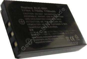 Akku Kodak DX-6490 Zoom Daten: 1700mAh 3,7V LiIon 11,3mm schwarz (Zubehörakku vom Markenhersteller)