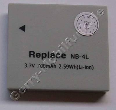 Akku CANON IXUS 75 NB-4L Daten: Li-ion 3,7V 700 mAh, 40,4 x 35,4 x 5,9mm hellgrau (Zubehörakku vom Markenhersteller)