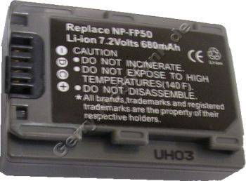 Akku SONY DCR-DVD203E Daten: LiIon 7,2V 680mAh dunkelgrau 18,7mm (Zubehörakku vom Markenhersteller)