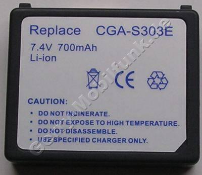 Akku PANASONIC SDR-S300 CGA-S303 Daten: LiIon 7,4V 700mAh 11,6mm (Zubehörakku vom Markenhersteller)