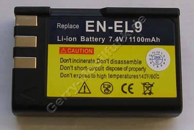 Akku für Nikon EN-EL9 Kamera D60 SLR 1100mAh (Zubehörakku vom Markenhersteller)