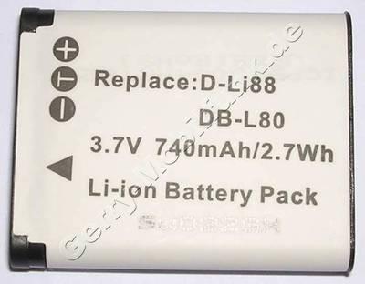Akku für PENTAX D-LI 88 (DSC: Optio P70) Daten: 500mAh 3,7V LiIon 5,8mm (Zubehörakku vom Markenhersteller)