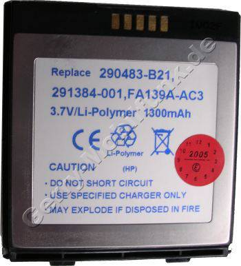 Akku für HP Compaq iPAQ H5400 Li-Polymer 3,7V 1300mAh 5,1mm dick ca.41g (Akku vom Markenhersteller, nicht original)(baugleich P/N 290483-B21, 291384-001, FA139A)