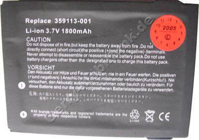 Akku für HP Compaq iPAQ HX4000 (baugleich mit P/N 359113-001, FA257A, 359114-001, FA258A)LiIon 3,7V 1800mAh 6mm dick ca.45g (Akku vom Markenhersteller, nicht original)