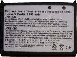 Akku für Dell Axim X50 (P/N 310-5964, 35h00056-00, HC03U, T6476 T6845) LiIon 3,7V 1100mAh 6,5mm dick ca.26g (Akku vom Markenhersteller, nicht original)