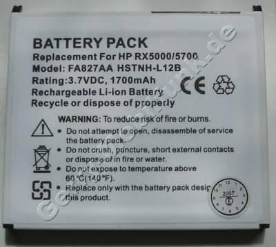 Akku für HP Compaq iPAQ rx5900 ( baugleich mit P/N FA827AA, HSTNH-L12B) LiIon 3,7V 1700mAh 5,8mm dick ca.40g (Akku vom Markenhersteller, nicht original)