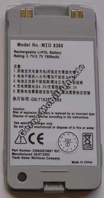 Akku für MITAC Mio 8380 Li-Ion 3,7V 1500mAh ca 33g (Akku vom Markenhersteller, nicht original)