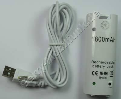 Akku für Nintendo Wii Controller weiss mit USB Ladekabel NiMh 2,4V 1800mAh ca.30g (Akku vom Markenhersteller, nicht original)