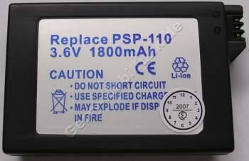Akku Sony PSP (baugleich mit PSP-110) Einsatz LiIon 3,6V 1800mAh 13,2mm ca.50g (Akku vom Markenhersteller, nicht original)