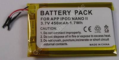 Akku Apple IPOD Nano 2G LiIon 3,7V 450mAh 1,7Wh (Akku vom Markenhersteller, nicht original)