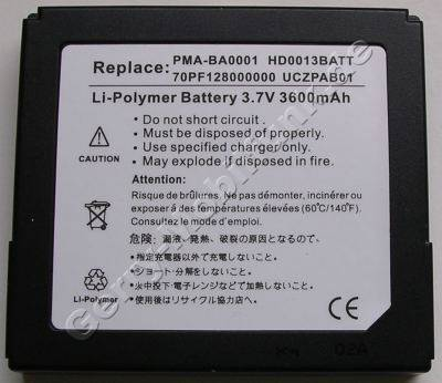 Akku für Creative Zen Portable Media Center (70PF128000000, HD0013BATT, PMA-BA0001, UCZPAB01) Li-Polymer 3,7V 3600mAh 12mm ca 85g (Akku vom Markenhersteller, nicht original)