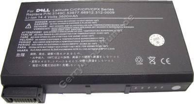 Notebook Akku für Dell Latitude CPi A 366 XT, Li-ion, 14,4 Volt, 3600mAh, dunkelgrau (138,5 x 90,0 x 21,0mm ca. 380g) Akku vom Markenhersteller