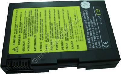 Notebook Akku für IBM ThinkPad 380 Serie, Li-ion, 10,8 Volt, 3600mAh, schwarz (125,2 x 86,0 x 20,8mm ca.301g) Akku vom Markenhersteller (Ersetzt: 73H9861 73H9951 73H9952)