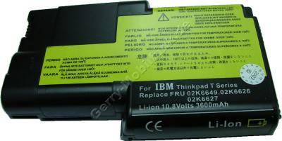 Notebook Akku für IBM ThinkPad T22, Li-ion, 10,8 Volt, 4400mAh, schwarz (141,5 x 84,8 x 22,0mm ca.296g) Akku vom Markenhersteller (Ersetzt: 02K6620 02K6626 02K6627 02K6644 02K6645 02K6646 02K6649)