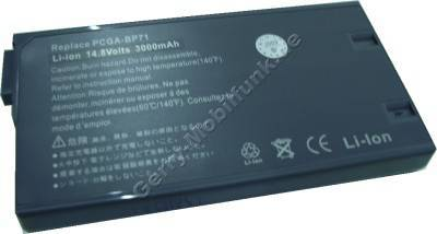 Notebook Akku für SONY VAIO PCG F 809 K, Li-ion, 14,8 Volt, 2600mAh, grau (144,3 x 77,0 x 18,7mm ca.320g) Akku vom Markenhersteller