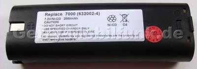 Akku für MAKITA UM1000D UM1070DW UM1200DW UM1270DW und baugleich, 7,2 Volt 2000 mAh Ni-Cd 320g vom Markenhersteller (Sanyo/Panasonic)(baugleich mit 632002-4)