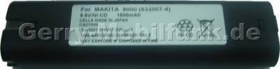 Akku für MAKITA 9000 9001 9002 und baugleich, 9,6 Volt 1700mAh Ni-Cd 430g vom Markenhersteller (Sanyo/Panasonic) (baugleich mit 632007-4)